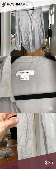 """Helmut Lang Shirt Note """"ripping"""" on right arm and tiny stain Helmut Lang Tops Button Down Shirts"""