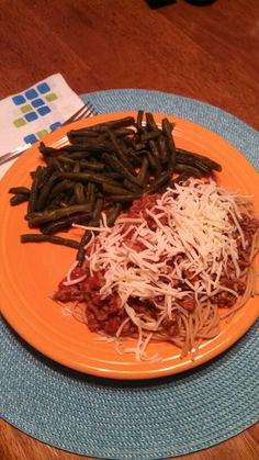 Pasta with Meat Sauce and Green Beans