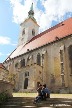 MARTIN'S CATHEDRAL - It is the second most popular tourist location in Bratislava. Its 85 m high spire dominates Old Town's skyline. Bratislava Slovakia, Catacombs, Old Town, Cathedral, Bucket, Skyline, Popular, Mansions, History