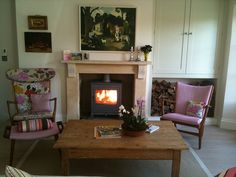 roaring fire in my Cotswolds home