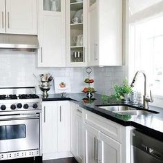 Black Countertops and White Cabinets, Traditional, kitchen, Style at Home