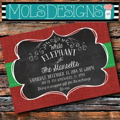 Any Color WHITE ELEPHANT CHRISTMAS Party Vintage Burlap Chalkboard Red Green Eat Drink Be Merry Cookie Holiday Baby Bridal Shower Invitation ornament annual christmas party work party gift swap