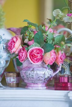 roses from my garden in a pink lustre jug
