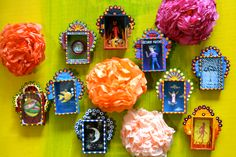 Wall of Mexican nichos - boxes of folk art