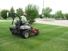 Our lawn manager Mike hard at work on a commercial property in the Twin Cities. #lawncare #mowing  For lawn and landscaping tips, please visit our blog: http://barrettlawncare.com/blog/