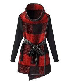 I don't know who makes this coat but I am in LOVE! Oversized Red and Black Plaid Grids Stand Collar Long Outerwear Plaid Fashion, Look Fashion, Autumn Fashion, Womens Fashion, Holiday Fashion, Fashion Styles, Fashion Trends, Plaid Coat, Wool Coat