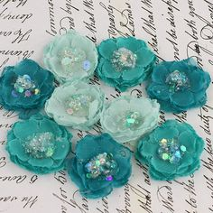 1 fabric flowers Tasha Collection  Teal 556921  by isakayboutique, $4.99