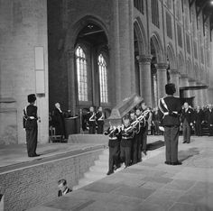 The funeral of King George VI - I think this must be his casket being carried into the crypt at St George Chapel at Windsor Castle. ~M x