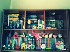 My bookshelf & origamis that I made