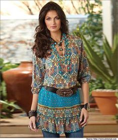 brown sleeveless shirt with built in necklace | This simple printed long tunic top accessorised with a contrasting ...