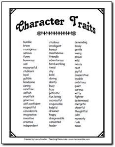Character Trait List to use when analyzing characters in Literature Circle discussions