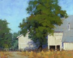 Oak and Barn  Pastel on On Archival Paper  16 x 20
