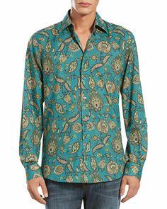 Gucci Paisley-Print Long-Sleeve Shirt & Stone Washed Skinny Jeans - Bergdorf Goodman
