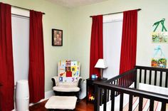 Baby Nursery With Window Red Curtains Decorating With Red Curtains In Your House Check more at http://www.wearefound.com/decorating-with-red-curtains-in-your-house/