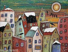 Blizzard 14x11 Houses City Town ORIGINAL Canvas PAINTING FOLK ART Karla Gerard...Brand new painting, for sale..buy it now..