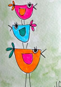 birdies... So cute! I think I would do this as a guided drawing, then let them paint.