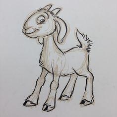 Your Sunday morning billy goat. Cartoon Drawings, Animal Drawings, Art Drawings, Drawing Skills, Line Drawing, Miniature Goats, Sheep Drawing, Barnyard Animals, Watercolor Sketchbook
