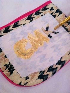 paint a monogram on your zipper pouch!