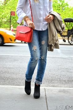 white collar. blue denim. (www.justjem.com)  stella & dot tia crossbody in red aritzia blouse zara distressed denim zara trench steve madden booties