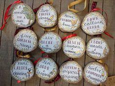 12 Days of Christmas Tree Slice Christmas Ornaments Set of
