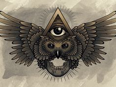 All Seeing Eye incorporated with an owl and skull motif. ☮ All Seeing EYE ~ psychedelic, hippie art, revolution OBEY style, Masonic, street graffiti, illustration and design. ☮