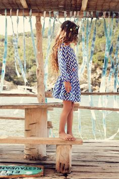 Official Mim-Pi Webshop for Girls Clothing Chevron Print Dresses, Love Blue, Dress P, Spring Summer Fashion, Bohemian Style, Toddler Girl, Color Pop, Kids Fashion, Girl Outfits