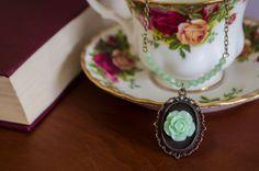 Mint Crystal Rose Necklace, Bronze, Nickel Free, Lead Free, Handmade, Jewellery, Vintage, Quirky, 1801Vintage