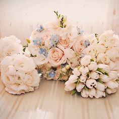 Roses, lisianthus, ranunculuses, with a hint of blue tweedia. Jessica Horwitz Photography.