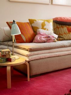 pillows, side table, fabric texture