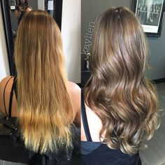 From golden blonde to a natural light ash brown. Olaplex treatment for healthy shine: