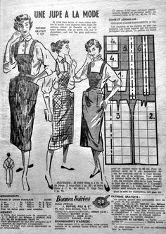 """A skirt draft from  a 1953 french mag, Bonne Soiree. For a 27""""/68cm waist. Each square =4""""/10cm. Seam allowances need to be added."""