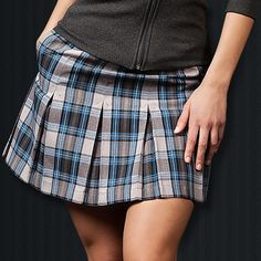 Blue Plaid Pleated Skort