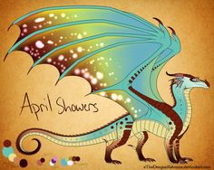 April Showers Reference by AprilSilverWolf on DeviantArt Mythical Creatures Art, Magical Creatures, Fantasy Creatures, Wings Of Fire Dragons, Cool Dragons, Fire Drawing, Manga Dragon, Fire Book, Beautiful Dragon