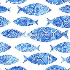 Padrão sem emenda com peixes, aquarela mão fundo pintado, peixe em aquarela, fundo sem emenda com fish.wallpaper azul estilizado, tecido aquarela, azul ornamentos de embrulho