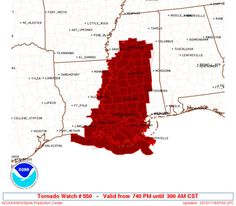 A tornado watch is in effect for southeastern Louisiana and some Mississippi counties until 3 a.m. Wednesday, according to the National Weather Service.