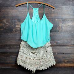 sand crochet mint party romper - shophearts - 1