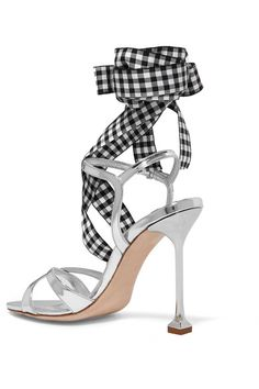 Miu Miu - Canvas-trimmed Metallic Leather Sandals - Silver - IT39.5