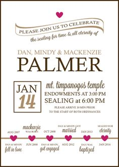 Lds Family Temple Sealing Invitation By Thebirdandtheberry On Etsy