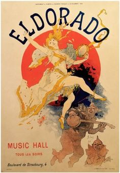 Belle Epoque Period Poster for Eldorado Music Hall by Jules Cheret, 1894