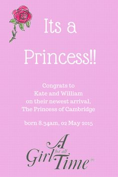 Its a new baby girl for Kate and WIlliam ! Many congrats from all of us at A Girl for All TIme : )
