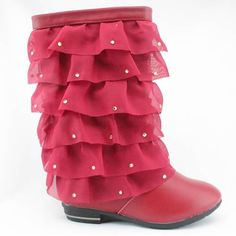 Red Cowhide Leather Winter Pageant Girl Girls High Fashion Dress Boots SKU-133262