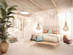 Can Tres Formentera 9 Bohemian Hotel, Bohemian Bedroom Decor, Home Decor Bedroom, Spanish Bedroom, Diy Interior, Interior Design, Rural House, Italian Home, House Inside