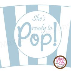 Printable blue and white popcorn cupcake wrapper.