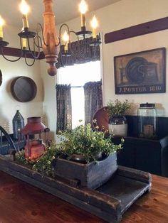 primitive homes decor Primitive Homes, Primitive Living Room, Primitive Kitchen, Primitive Furniture, Country Primitive, Primitive Fireplace, Kitchen Country, Country Sampler, Colonial Furniture