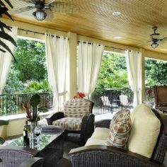 Covered patio. Panels give the feel of an indoor room.