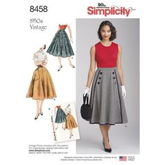 Retro Sewing Our vintage skirt for Misses is gracefully flared and has a side closing. Choose a button-on front panel bound with military braid, or opt for a large patch pocket over one hip with a purchased belt. Skirt Patterns Sewing, Simplicity Sewing Patterns, Vintage Sewing Patterns, Clothing Patterns, Vintage Rock, Mode Vintage, Vintage Style, Gored Skirt, Vintage Skirt
