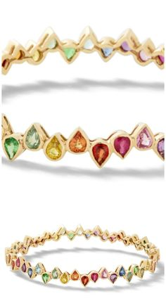 A gold and sapphire rainbow bracelet by SheBee. I love these colorful gemstones!
