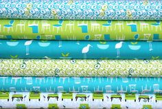 Perfectly Perched fat quarter bundle--6 pieces---1-1/2 yards total--Laurie Wisbrun for Robert Kaufman Fabrics. via Etsy.