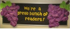 """We're a Great Bunch of Readers"" library bulletin board  Bananas would be cute too!"