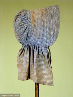Blue & White Gingham Sunbonnet, Mid 19th Century, Tasha Tudor Historic Costume Collection, Augusta Auctions